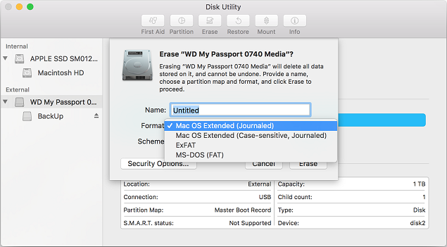 how to format WD portable hard drive for Mac